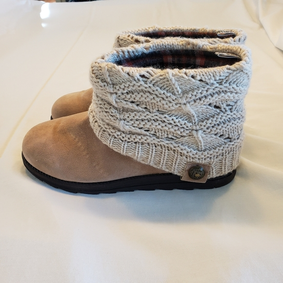 Muk Luks Faux Suede Booties with Knit Toppers